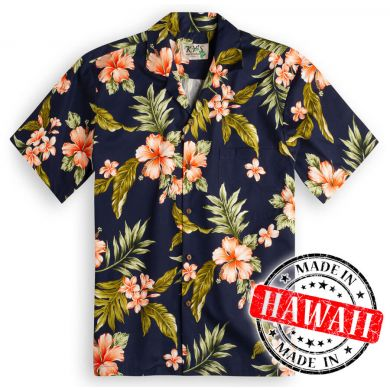 "Hawaii Shirt ""Hibiskus Blau"""