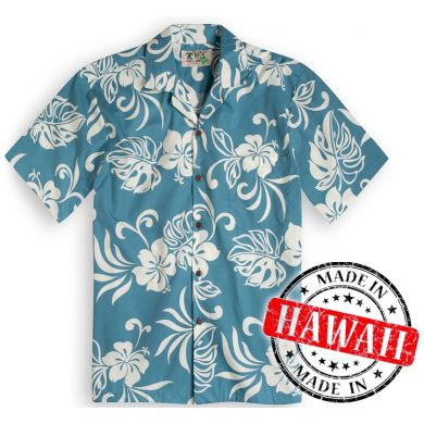 "Hawaii Shirt ""Hawaii-Blumen Türkis"""
